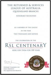 Centenary Certificate
